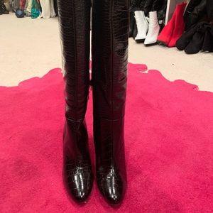 Black faux leather croc boots